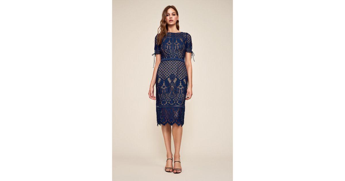 7c234b0c064ed Tadashi Shoji - Blue Bobek Lace Tea-length Dress - Lyst