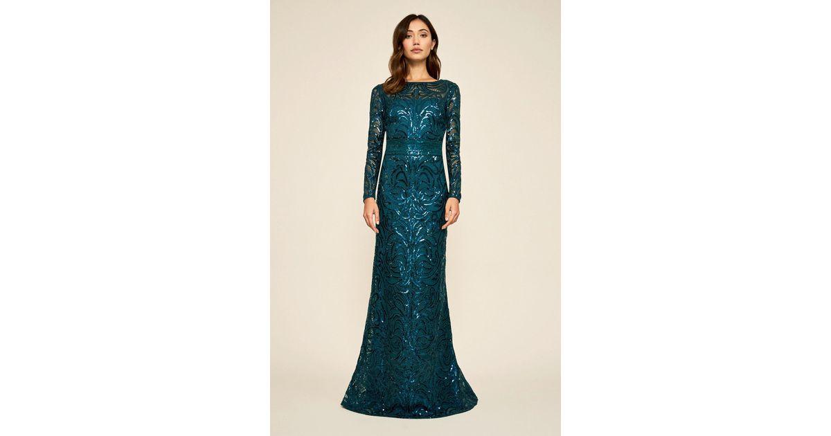 17f73eeec7 Lyst - Tadashi Shoji Fabia Long-sleeve Sequin Gown in Blue - Save 40%