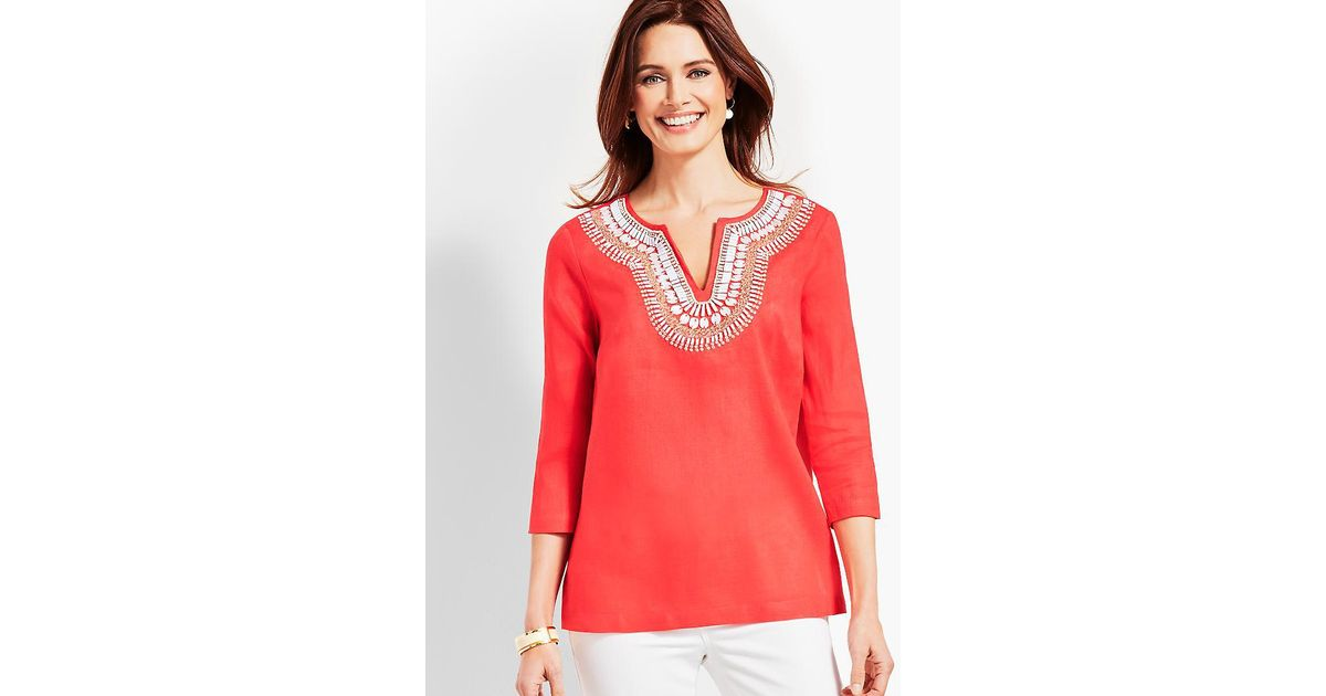 f0614bbf5e8 Lyst - Talbots Shell-embellished Linen Tunic Top in Red