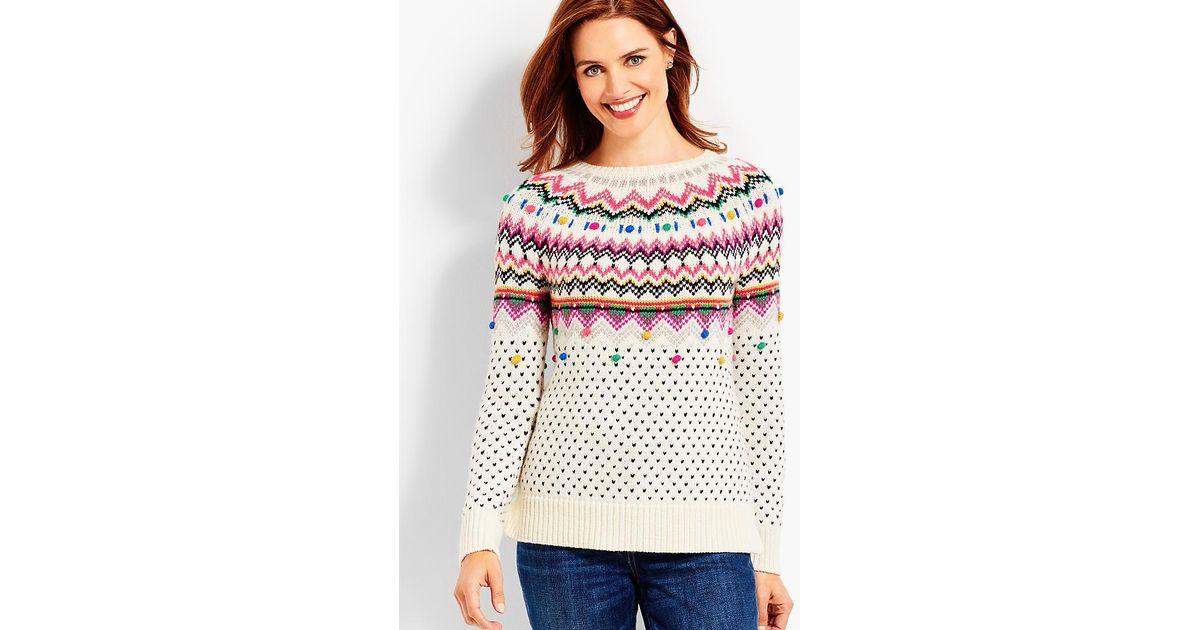Lyst - Talbots Carnival Fair Isle Sweater in Pink