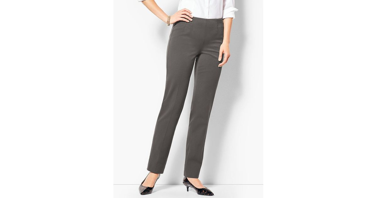 942304a32fe Lyst - Talbots Refined Bi-stretch Straight-leg Pants in Gray