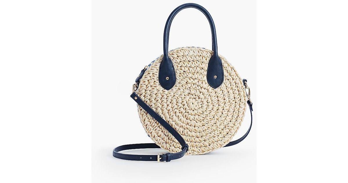 Lyst Talbots Crochet Straw Circle Crossbody Bag In Blue