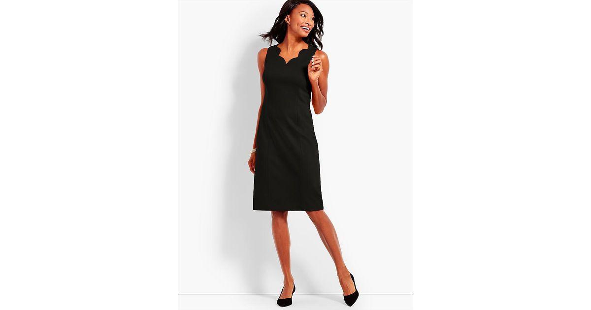 9736c1a48b Talbots Scallop V-neck Sheath Dress in Black - Lyst