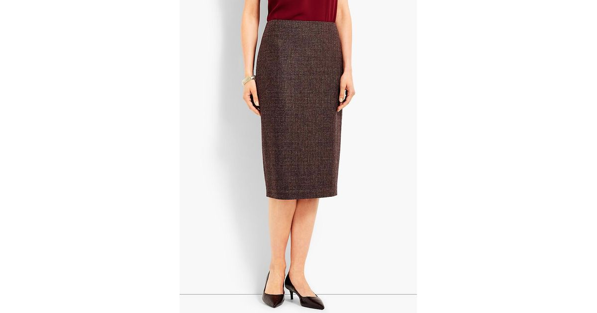 7c6243cb7f Lyst - Talbots Luxe Tweed Pencil Skirt in Brown