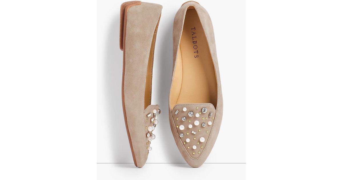 ef5195fe019 Lyst - Talbots Francesca Driving Moccasins - Jeweled