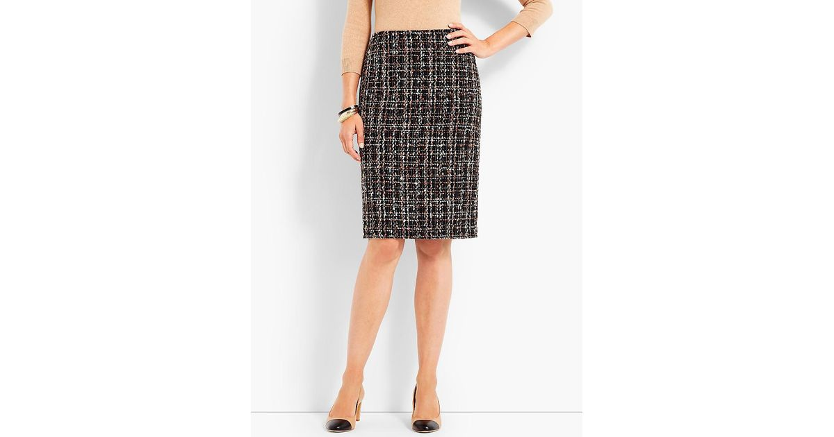 888269103a Lyst - Talbots Parisian Tweed Pencil Skirt in Black