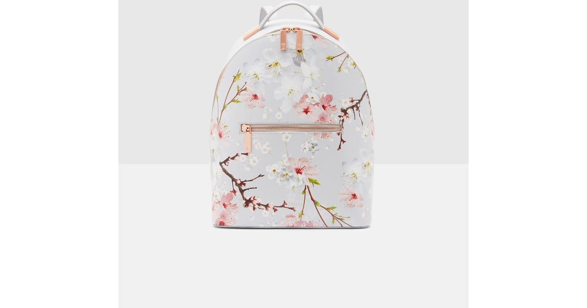 9943eef4bd4e Lyst - Ted Baker Oriental Blossom Leather Backpack in Gray