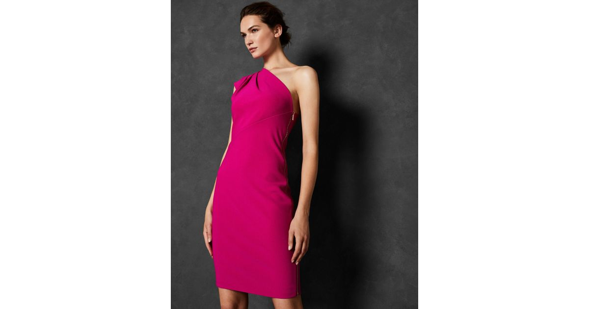 6e6caeb4 Ted Baker Pleat Fold One Shoulder Dress in Pink - Lyst