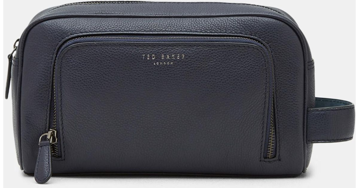 b1a8101c465f Ted Baker Leather Wash Bag in Blue for Men - Lyst