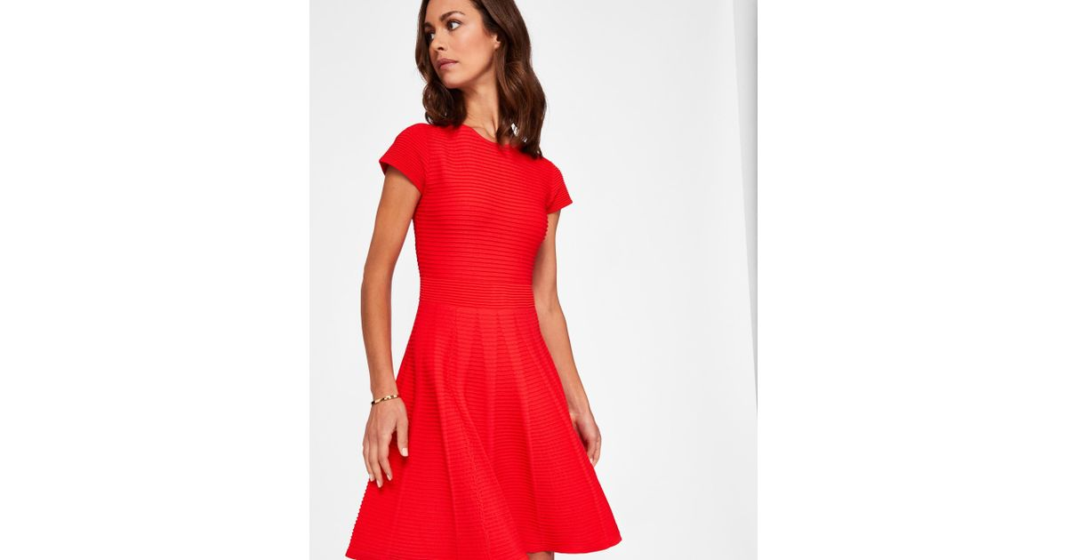 Ted Baker Ribbed Knit Skater Dress in Red - Lyst 0db152397