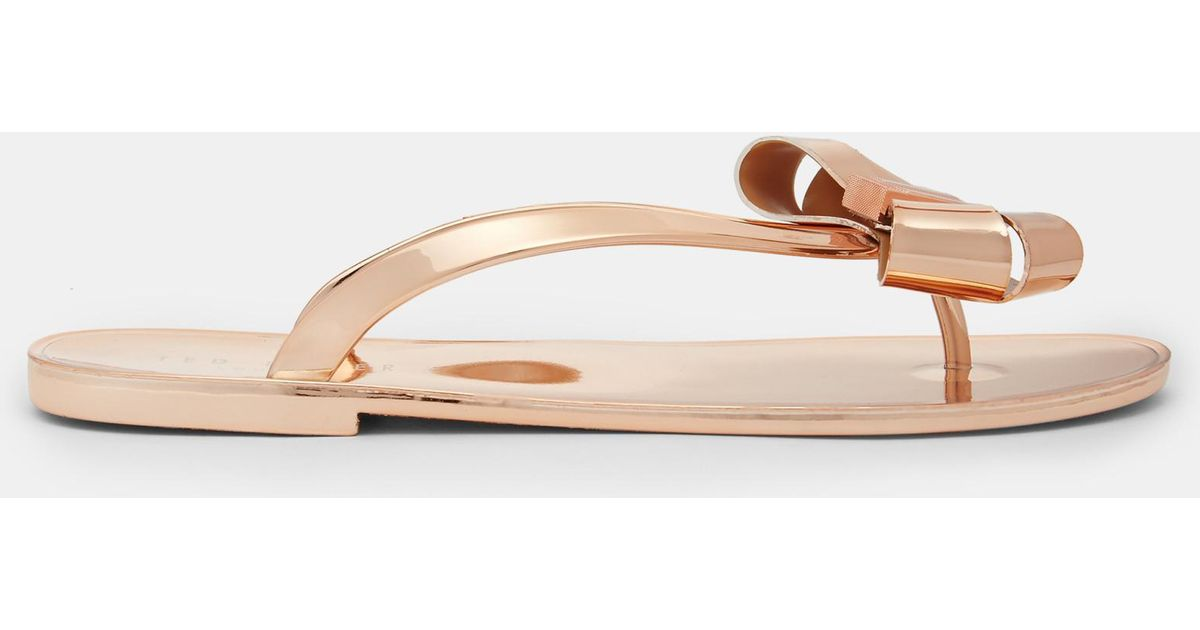 2203e2c37678a Ted Baker Bow Detail Jelly Flip Flops - Lyst