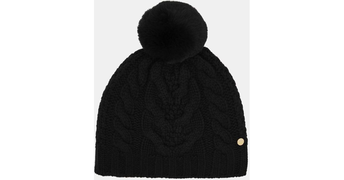 5816c2f27f38e Ted Baker Cable Knit Pom Pom Hat in Black - Save 27% - Lyst