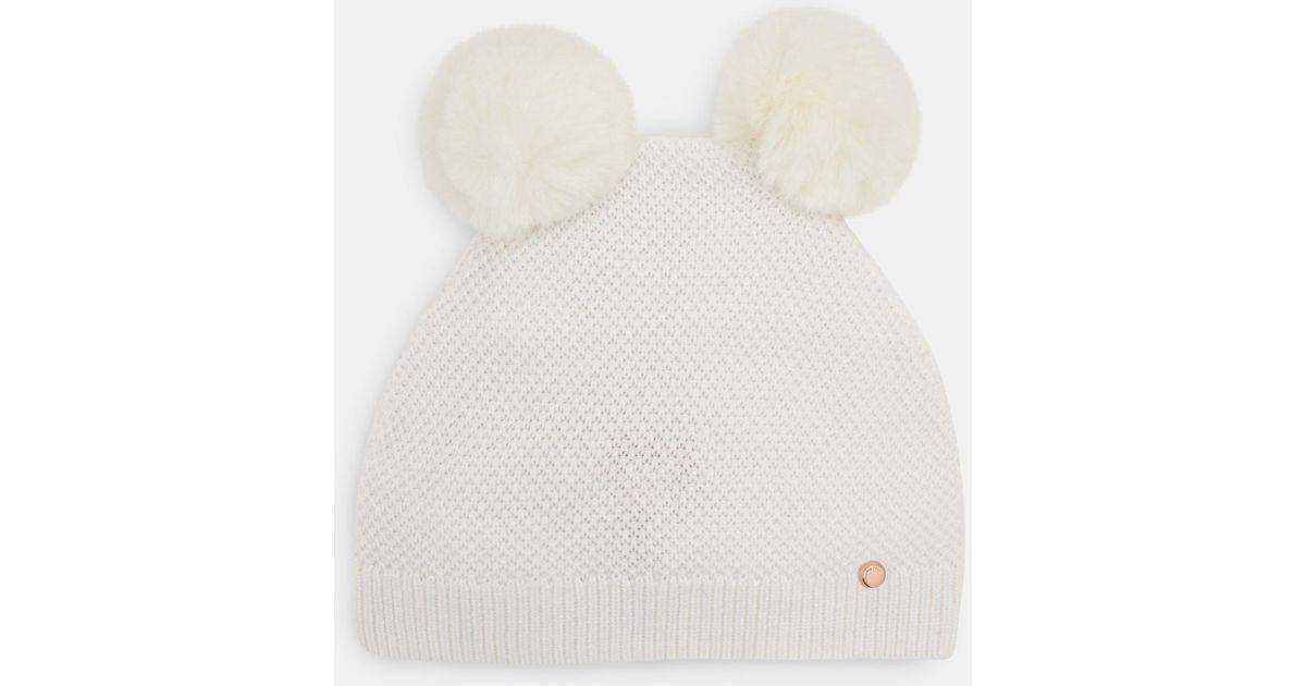 ca373e25e04c5 Ted Baker Double Pom Pom Beanie Hat in White - Lyst