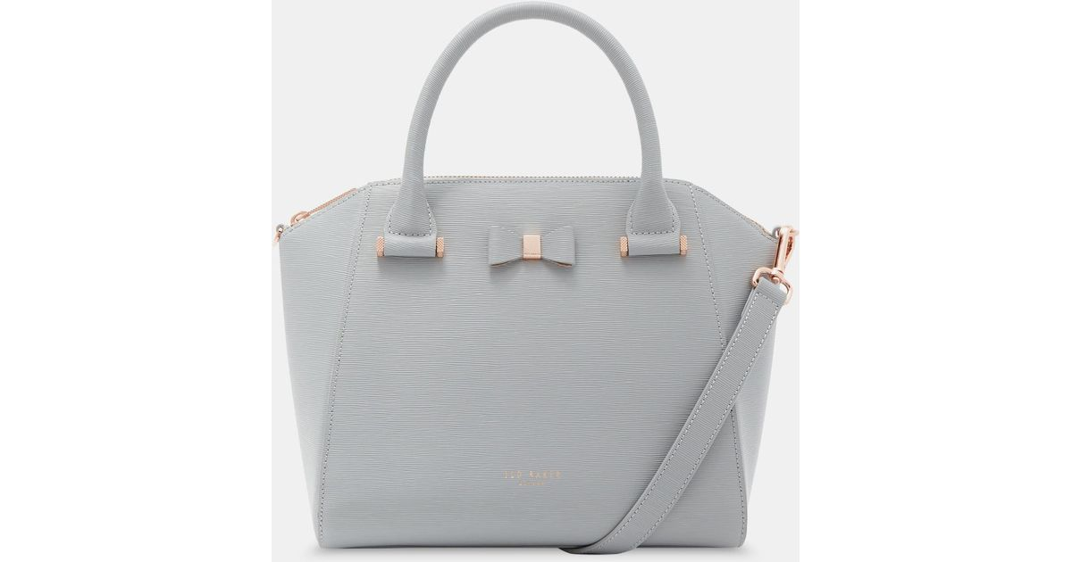 30596a5aa2b66 Ted Baker Janne Bow Detail Leather Tote in Gray - Lyst