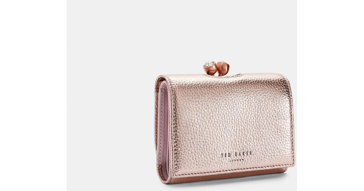 94f0a63d424e4 Ted Baker Mini Leather Bobble Purse in Pink - Lyst