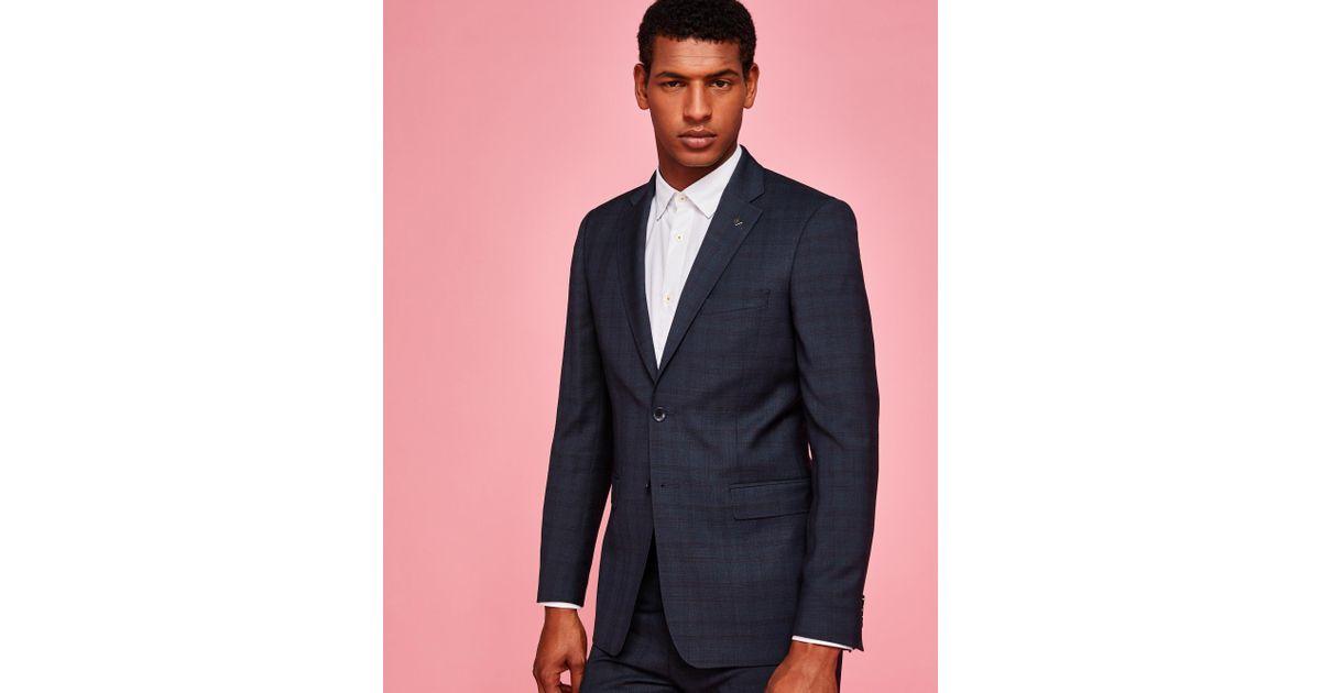 3b9917ead Ted Baker Debonair Check Suit Jacket in Blue for Men - Lyst
