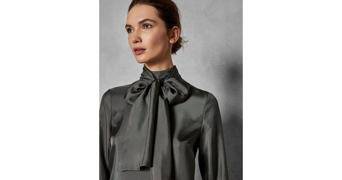 857911cd1c0d36 Lyst - Ted Baker Marther Ice Palace Tie-neck Silk Blouse in Gray