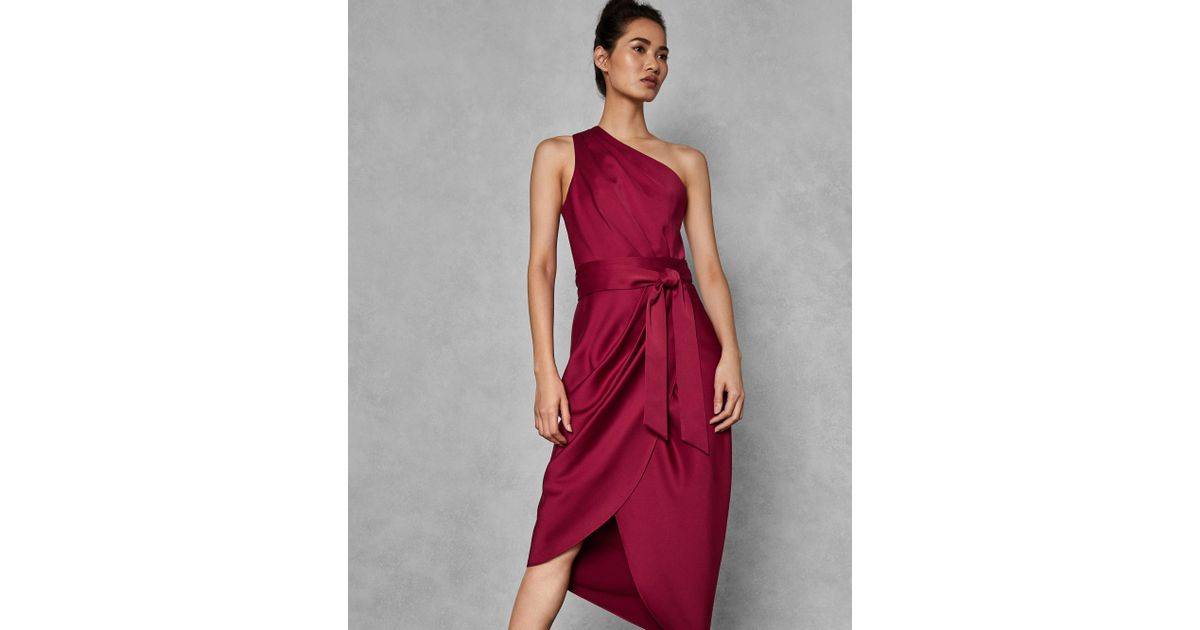 9421a1710 Ted Baker One Shoulder Drape Midi Dress in Red - Lyst