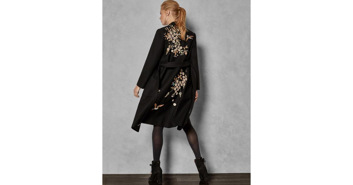 1778f931632 Ted Baker Graceful Embroidered Wool Coat in Black - Lyst