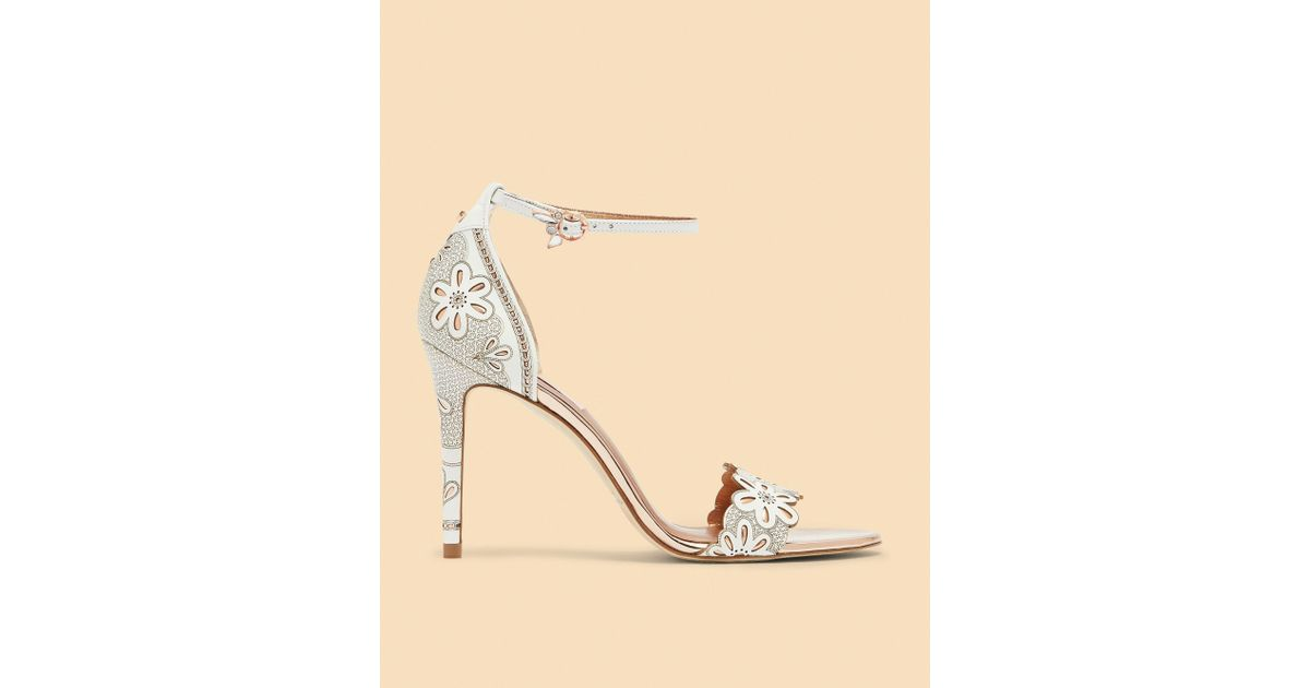 05b88a1db30 Ted Baker Laser Cut Floral Heeled Sandals in White - Lyst