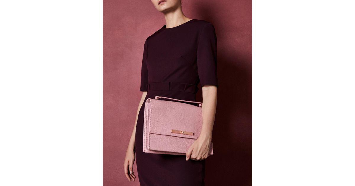 e6937657e2 Ted Baker Concertina Leather Shoulder Bag in Pink - Lyst