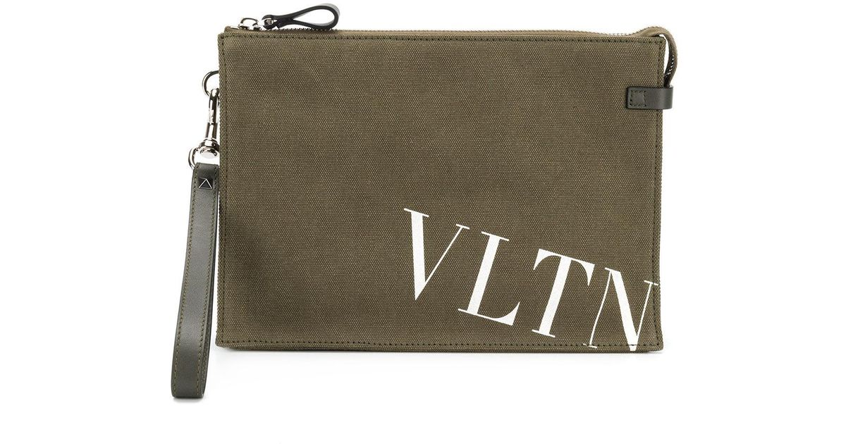 Valentino Garavani VLTN clutch - Green Valentino Looking For Sale Online Outlet Recommend Buy Cheap High Quality Oowj4Qs