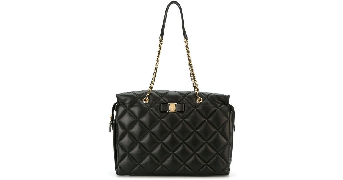 95694c2099 Ferragamo Large Quilted  vara  Tote in Black - Lyst