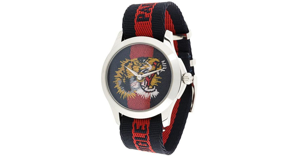 a4060e08432 Gucci Watch With Tiger Clock Face in Blue - Lyst