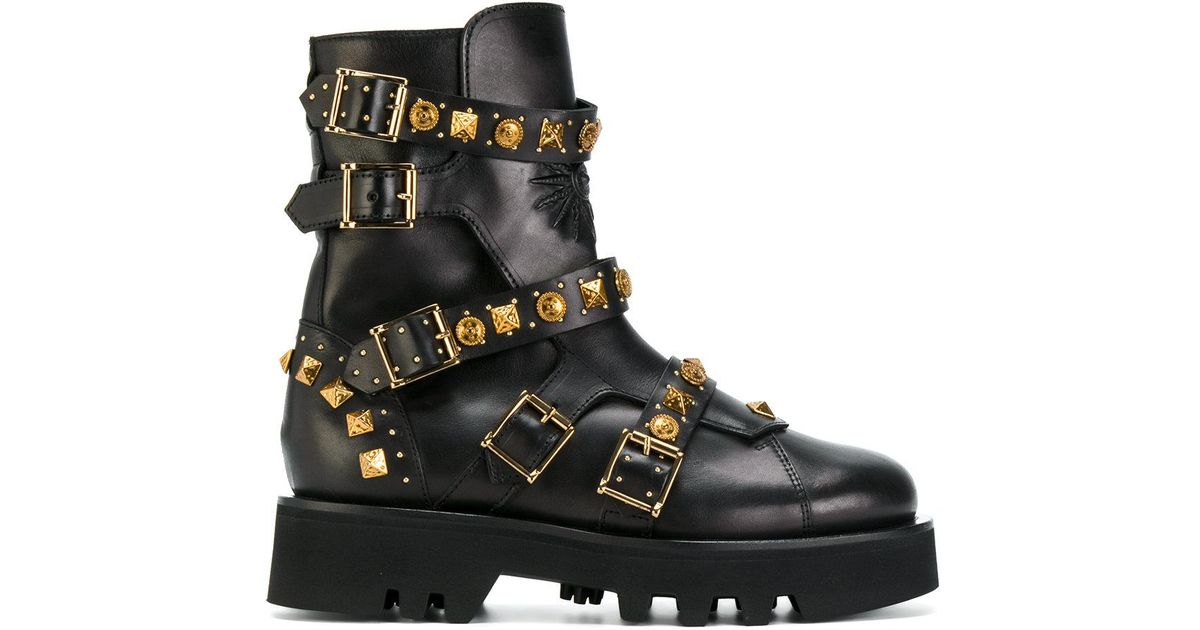 FAUSTO PUGLISI 20MM BUCKLES & STUDS LEATHER COMBAT BOOT