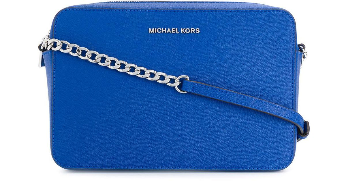 82611a8914f1 MICHAEL Michael Kors Jet Set Crossbody Saffiano Large Pouch in Blue - Lyst