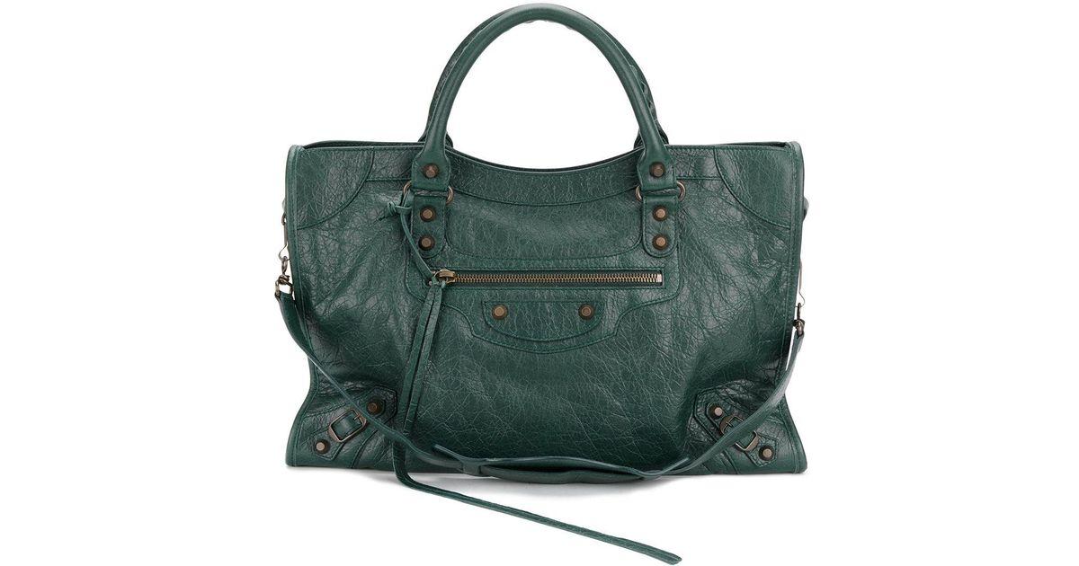 7e091fde75e Balenciaga City Classic Leather Shoulder Bag in Green - Lyst