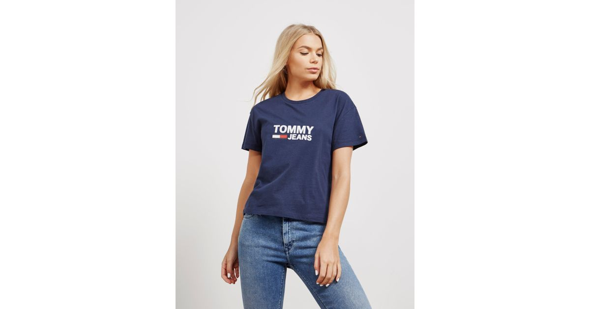 e1051d3e7 Tommy Hilfiger Womens Flag Short Sleeve T-shirt Navy Blue in Blue - Lyst