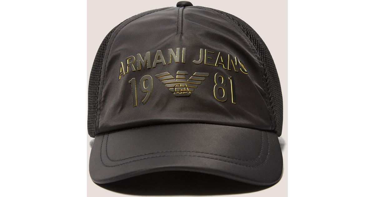 9667a56a Armani Jeans Large Logo Baseball Cap in Black for Men - Lyst