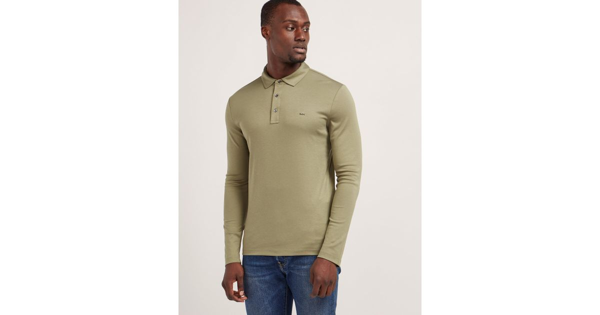fb785178cea1d Lyst - Michael Kors Sleek Long Sleeve Polo Shirt in Natural for Men