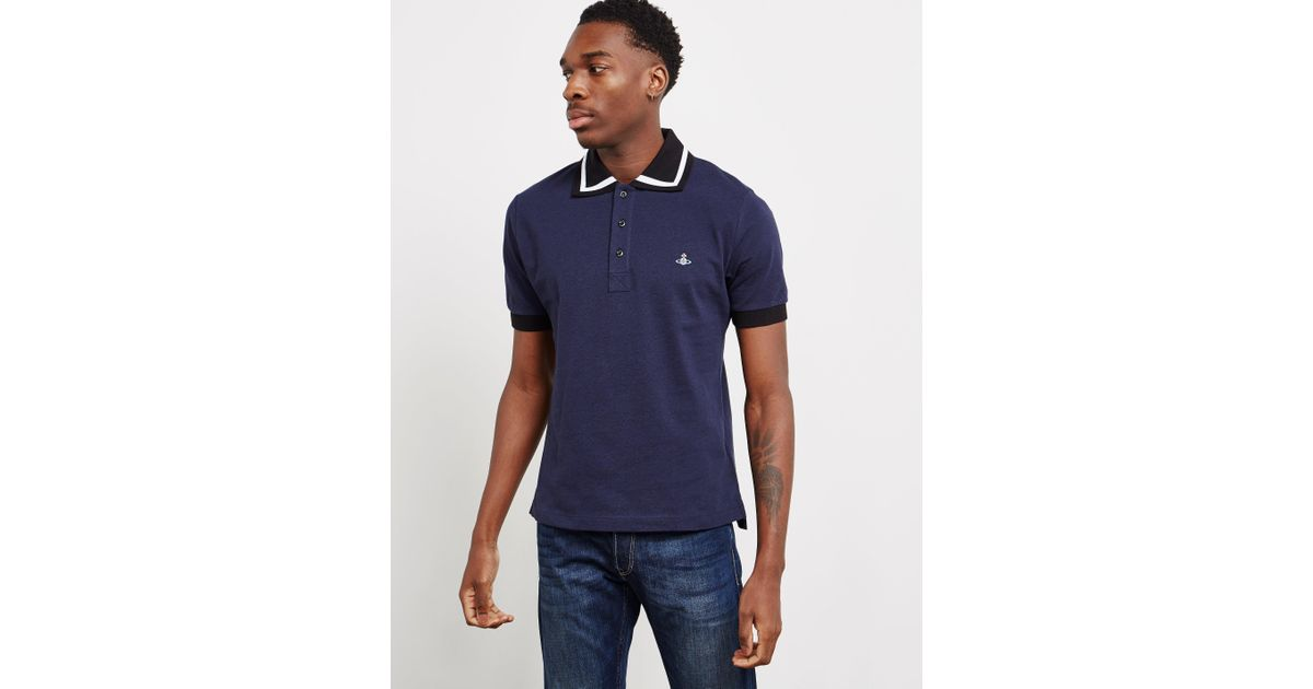 Lyst - Vivienne Westwood Mens Bold Tipped Short Sleeve Polo Shirt Navy Blue  in Blue for Men d38f65d61