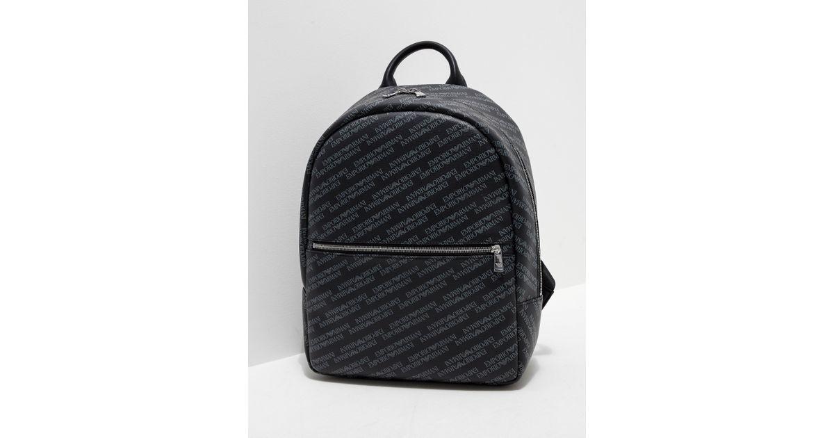 Lyst - Emporio Armani Mens All Over Print Backpack Black in Black for Men 43b4ff2ea3