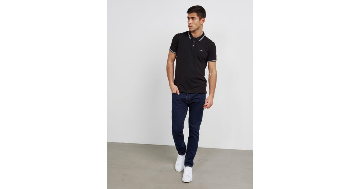 c81eb50e Armani Jeans Mens Twin Tipped Short Sleeve Polo Shirt Black in Black for Men  - Lyst