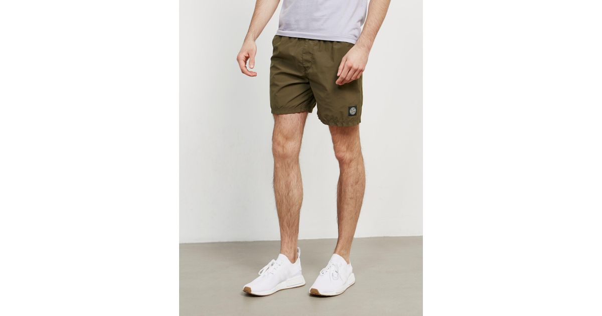 3f822871c7 Stone Island Mens Patch Swim Shorts Green in Green for Men - Lyst