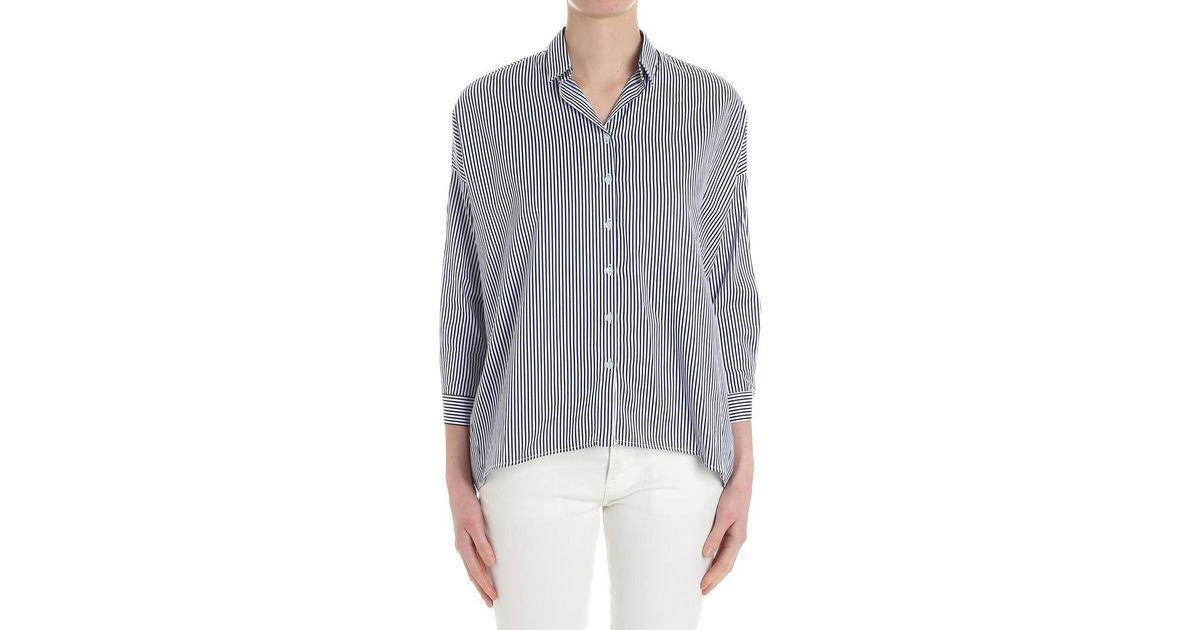 White And Pinko Lyst Blue Striped Shirt Frida trdhxBsQC