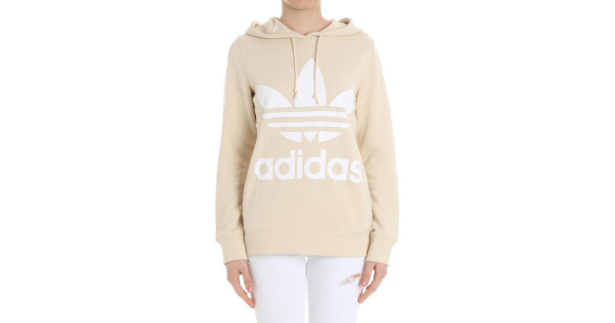 1295150ed488 Lyst - adidas Originals Cream-colored Trefoil Hoodie Sweatshirt in Natural