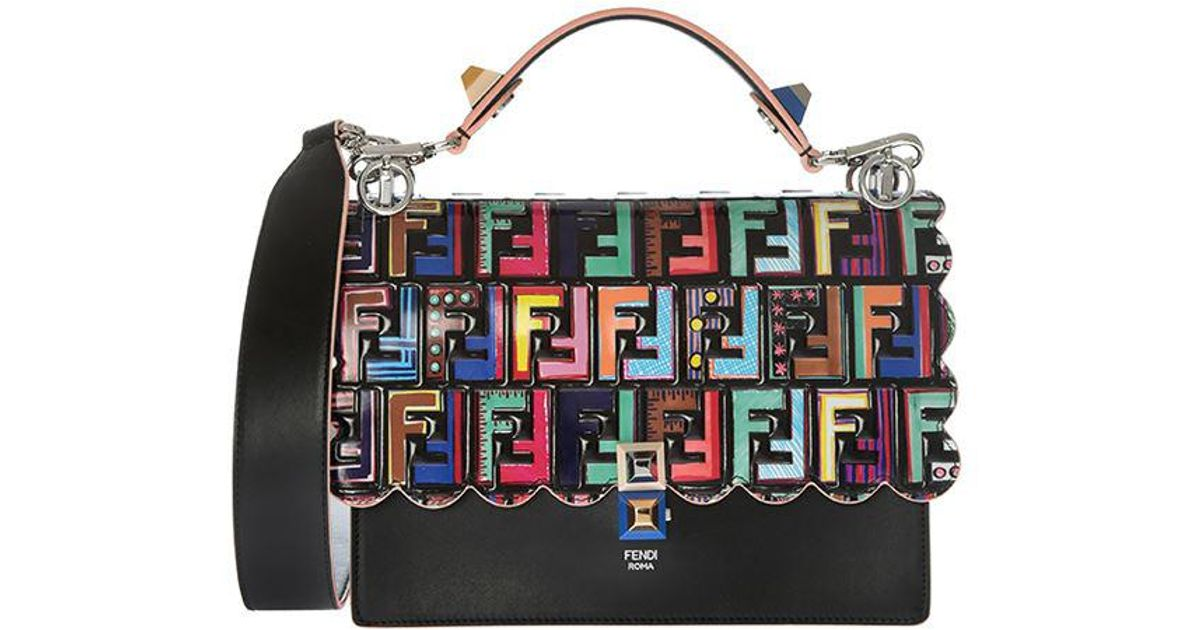 2a877032cc9 Fendi Black Kan I Bag With Multicolor Flap in Black - Lyst