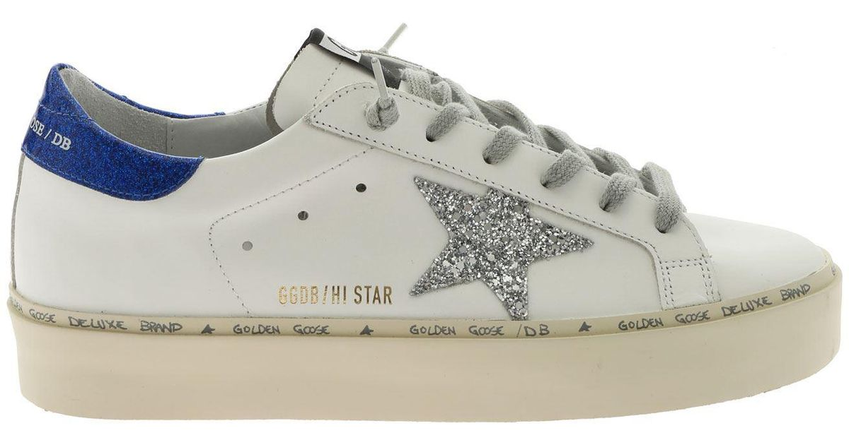 8d1184671f Lyst - Golden Goose Deluxe Brand White Hi Star Sneakers With Glitter Star  in White