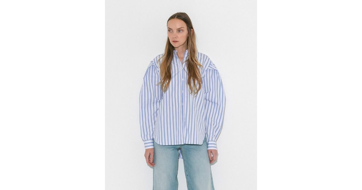 c849d835b1d62 Lyst - Totême Light Blue Stripe white Priola Shirt in Blue