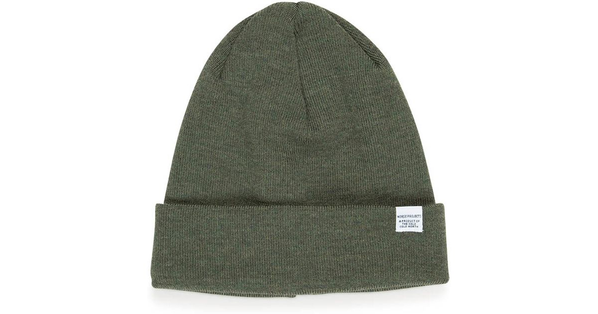 b991f90441e Norse Projects Top Beanie Dried Olive for Men - Lyst