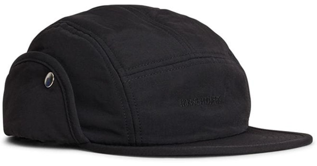 Lyst - Norse Projects Norse 6 Panel Ear Flap Nylon Black in Black for Men 3cb17719061