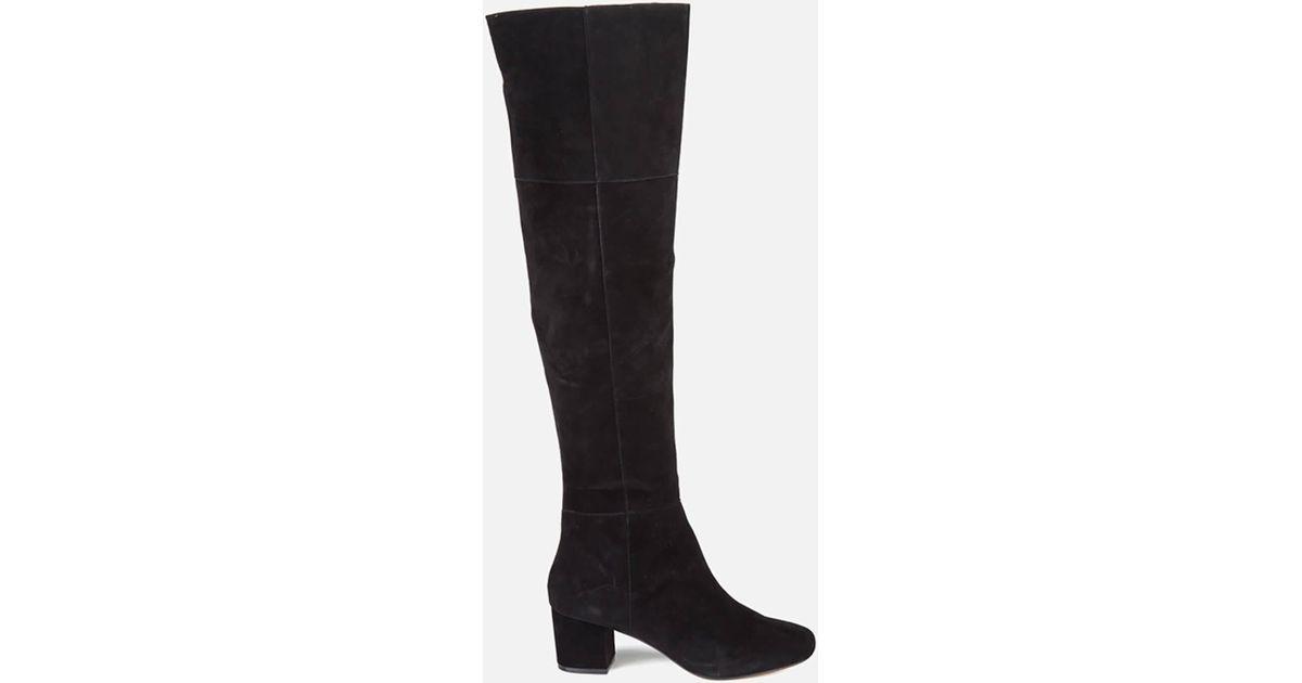 3b753df969f Dune - Black Sanford Suede Thigh High Heeled Boots - Lyst