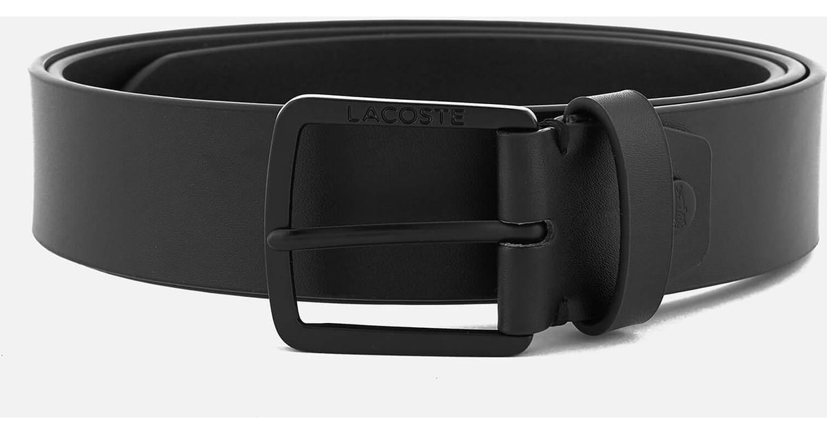 f664fc7dc70ea3 Lyst - Lacoste Classic Logo Embossed Buckle Belt in Black for Men