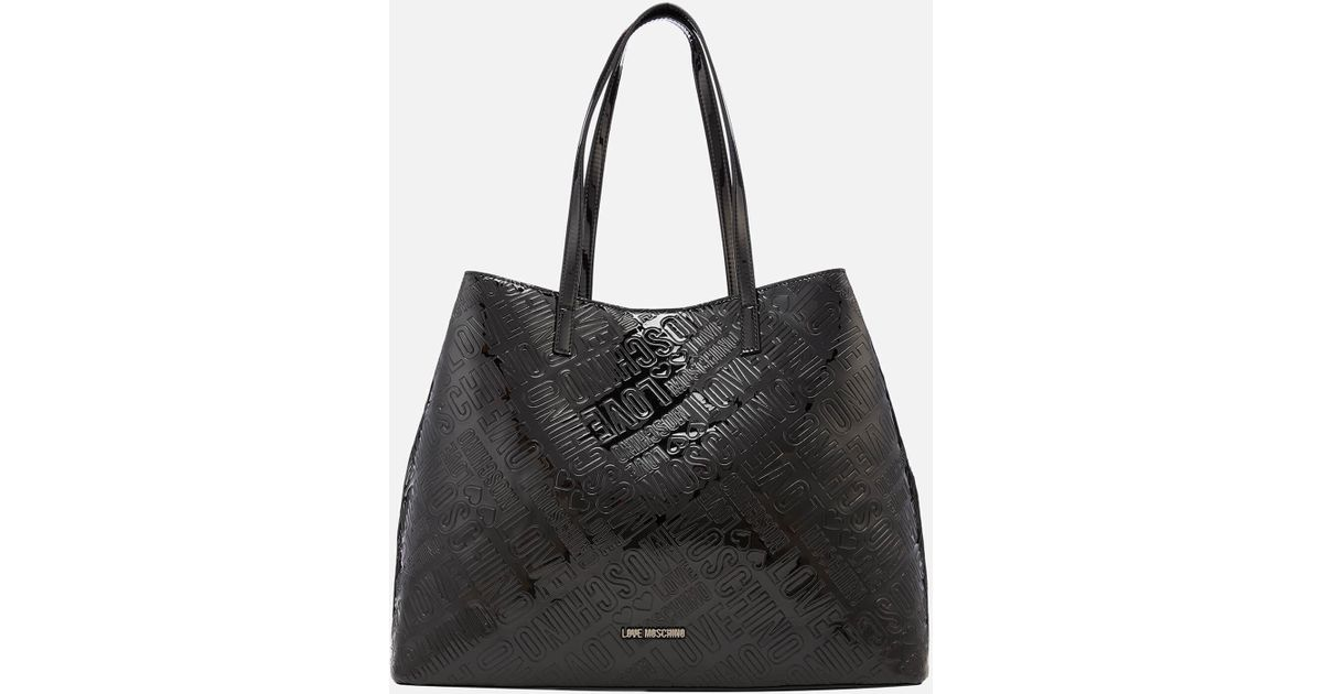 17198f08a6 Love Moschino Metallic Embossed Logo Tote Bag in Black - Lyst