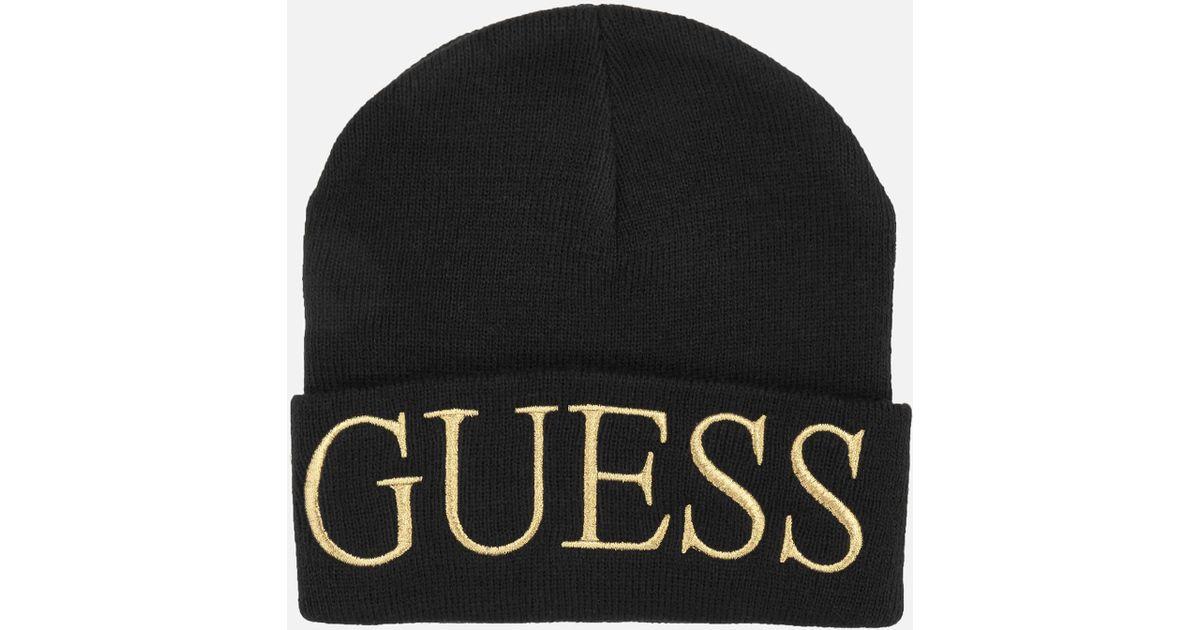 f5c65200c Guess - Black Logo Beanie Hat - Lyst