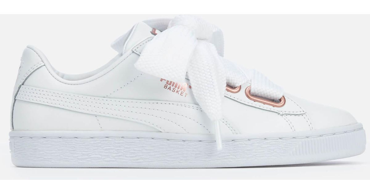 365cb7ac813949 PUMA Basket Heart Leather Trainers in White - Lyst